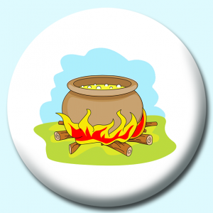 Personalised Badge: 75mm Halloween Caldron Button Badge. Create your own custom badge - complete the form and we will create your personalised button badge for you.