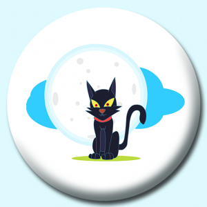 Personalised Badge: 75mm Halloween Cat Button Badge. Create your own custom badge - complete the form and we will create your personalised button badge for you.