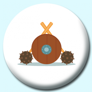 Personalised Badge: 58mm Hammer And Shield Vikings Button Badge. Create your own custom badge - complete the form and we will create your personalised button badge for you.