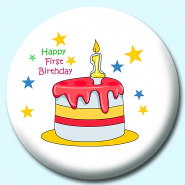 38mm Happy First Birthday Cake Button Badge Badge Boy Custom