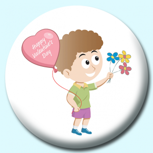 Personalised Badge: 75mm Happy Valentines Day Balloon Flowers Button Badge. Create your own custom badge - complete the form and we will create your personalised button badge for you.
