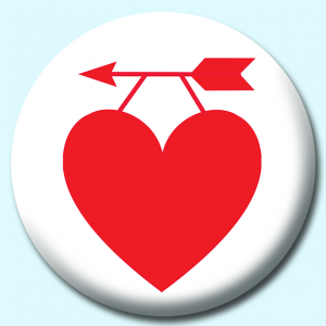 Personalised Badge: 75mm Heart Hanging On An Arrow Button Badge. Create your own custom badge - complete the form and we will create your personalised button badge for you.