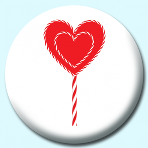 Personalised Badge: 75mm Heart Shaped Candy Button Badge. Create your own custom badge - complete the form and we will create your personalised button badge for you.