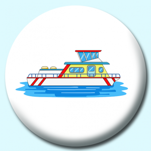 Personalised Badge: 75mm Houseboat In Water Button Badge. Create your own custom badge - complete the form and we will create your personalised button badge for you.
