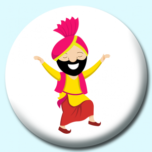 Personalised Badge: 38mm Indian Punjabi Man Doing Treditional Bhangra Dance India Button Badge. Create your own custom badge - complete the form and we will create your personalised button badge for you.