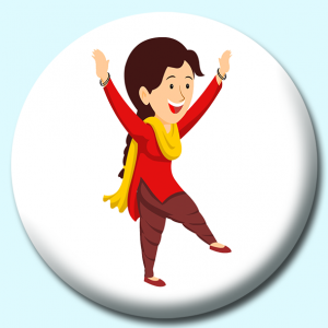Personalised Badge: 38mm Indian Punjabi Woman Doing Treditional Bhangra Dance India Button Badge. Create your own custom badge - complete the form and we will create your personalised button badge for you.