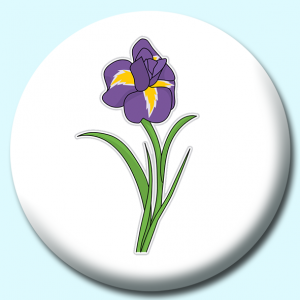 Personalised Badge: 75mm Iris Flower Button Badge. Create your own custom badge - complete the form and we will create your personalised button badge for you.