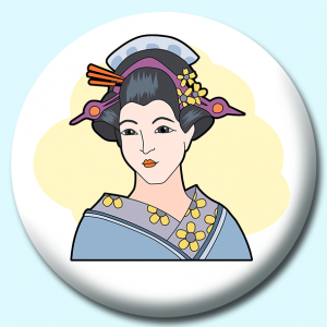 Personalised Badge: 58mm Japanese Geisha Button Badge. Create your own custom badge - complete the form and we will create your personalised button badge for you.