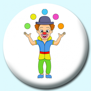 Personalised Badge: 58mm Juggling Clown Button Badge. Create your own custom badge - complete the form and we will create your personalised button badge for you.