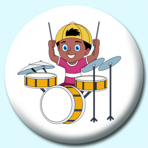 Personalised Badge: 75mm Kid Musician Playing Acoustic Drums Cymbals Button Badge. Create your own custom badge - complete the form and we will create your personalised button badge for you.
