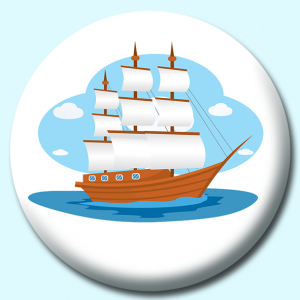 Personalised Badge: 58mm Large Wooden Sailboat Sails Open Button Badge. Create your own custom badge - complete the form and we will create your personalised button badge for you.