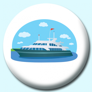 Personalised Badge: 75mm Large Yacht Boat Ship Button Badge. Create your own custom badge - complete the form and we will create your personalised button badge for you.