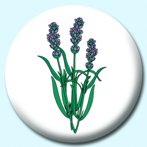 Personalised Badge: 75mm Lavender Flower Button Badge. Create your own custom badge - complete the form and we will create your personalised button badge for you.