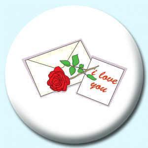 Personalised Badge: 38mm Letter With Rose Button Badge. Create your own custom badge - complete the form and we will create your personalised button badge for you.