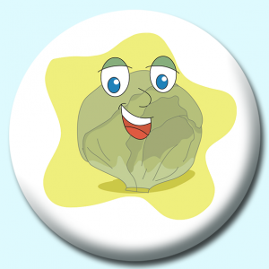 Personalised Badge: 75mm Lettuce Cartoon Button Badge. Create your own custom badge - complete the form and we will create your personalised button badge for you.