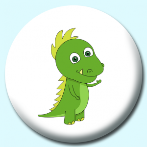 Personalised Badge: 75mm Little Green Dinosaur Button Badge. Create your own custom badge - complete the form and we will create your personalised button badge for you.