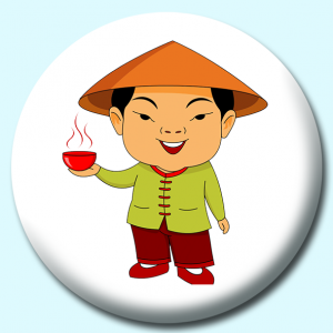 Personalised Badge: 58mm Man In Chinese Costume Button Badge. Create your own custom badge - complete the form and we will create your personalised button badge for you.
