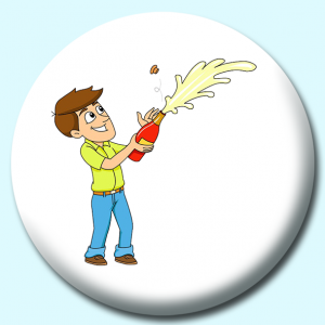 Personalised Badge: 58mm Man Opening Up A Champagne Bottle As It Sprays Button Badge. Create your own custom badge - complete the form and we will create your personalised button badge for you.