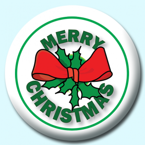 Personalised Badge: 75mm Merry Christmas Button Button Badge. Create your own custom badge - complete the form and we will create your personalised button badge for you.