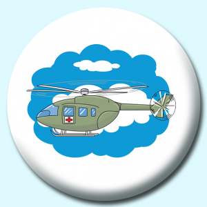 Personalised Badge: 75mm Military Helicopter Button Badge. Create your own custom badge - complete the form and we will create your personalised button badge for you.