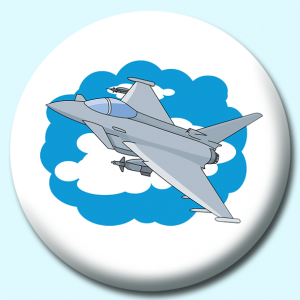 Personalised Badge: 38mm Military Jet Aircarft Button Badge. Create your own custom badge - complete the form and we will create your personalised button badge for you.