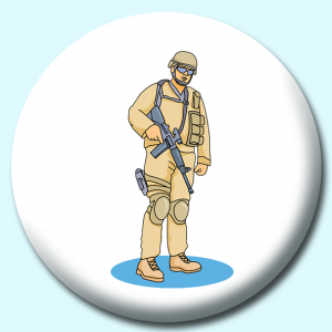 Personalised Badge: 38mm Military Soldier Armor Button Badge. Create your own custom badge - complete the form and we will create your personalised button badge for you.
