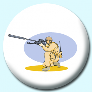 Personalised Badge: 38mm Military Solider Gun Button Badge. Create your own custom badge - complete the form and we will create your personalised button badge for you.