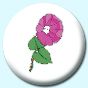 Personalised Badge: 38mm Morning Glory Flower Button Badge. Create your own custom badge - complete the form and we will create your personalised button badge for you.