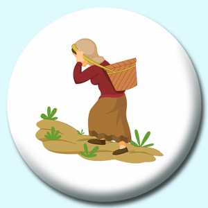 Personalised Badge: 58mm Nepalese Woman Button Badge. Create your own custom badge - complete the form and we will create your personalised button badge for you.