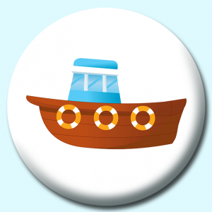 Personalised Badge: 75mm Old Wood Boat With Motor 2 Button Badge. Create your own custom badge - complete the form and we will create your personalised button badge for you.