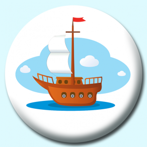 Personalised Badge: 75mm Old Wood Boat With Motor Button Badge. Create your own custom badge - complete the form and we will create your personalised button badge for you.