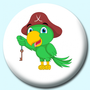 Personalised Badge: 75mm Parrot Button Badge. Create your own custom badge - complete the form and we will create your personalised button badge for you.