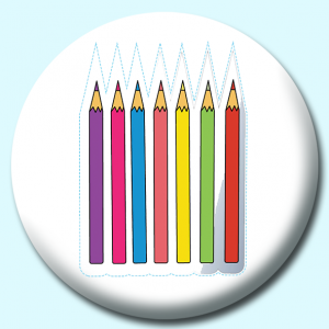 Personalised Badge: 58mm Pencils Button Badge. Create your own custom badge - complete the form and we will create your personalised button badge for you.