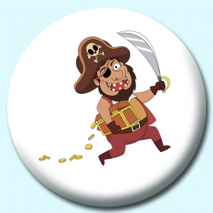 Personalised Badge: 75mm Pirate Button Badge. Create your own custom badge - complete the form and we will create your personalised button badge for you.
