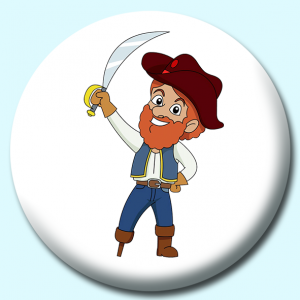 Personalised Badge: 75mm Pirate With Wooden Leg Button Badge. Create your own custom badge - complete the form and we will create your personalised button badge for you.