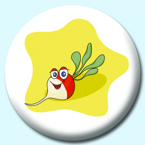 Personalised Badge: 75mm Radish Character Button Badge. Create your own custom badge - complete the form and we will create your personalised button badge for you.