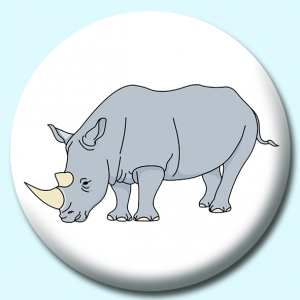 Personalised Badge: 58mm Rhinoceros Button Badge. Create your own custom badge - complete the form and we will create your personalised button badge for you.