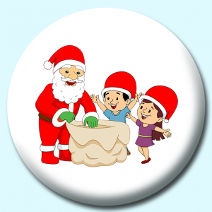 Personalised Badge: 75mm Santa Giving Gifts To Happy Children Button Badge. Create your own custom badge - complete the form and we will create your personalised button badge for you.