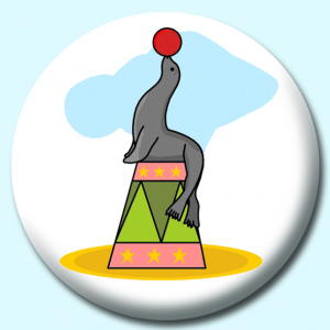 Personalised Badge: 58mm Sea Lion Button Badge. Create your own custom badge - complete the form and we will create your personalised button badge for you.