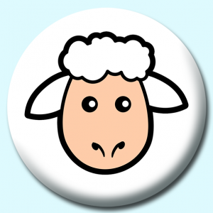 Personalised Badge: 58mm Sheep Face Button Badge. Create your own custom badge - complete the form and we will create your personalised button badge for you.