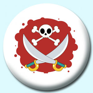 Personalised Badge: 75mm Skull And Cross Bones Button Badge. Create your own custom badge - complete the form and we will create your personalised button badge for you.
