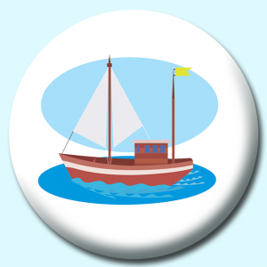Personalised Badge: 75mm Small Wooden Sail Boat Button Badge. Create your own custom badge - complete the form and we will create your personalised button badge for you.