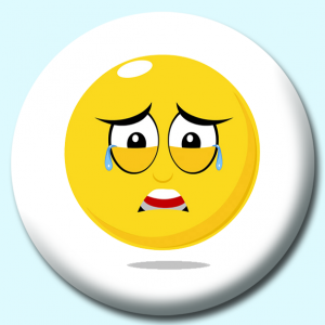 Personalised Badge: 58mm Smiley Face Crying Expression Button Badge. Create your own custom badge - complete the form and we will create your personalised button badge for you.