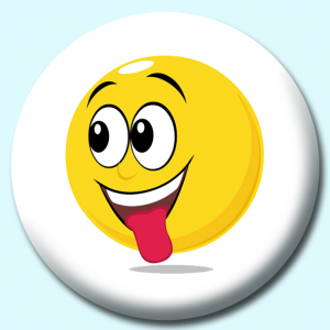 Personalised Badge: 75mm Smiley Face Exited Expression Button Badge. Create your own custom badge - complete the form and we will create your personalised button badge for you.