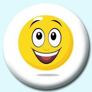 Personalised Badge: 75mm Smiley Face Surprise Expression Button Badge. Create your own custom badge - complete the form and we will create your personalised button badge for you.