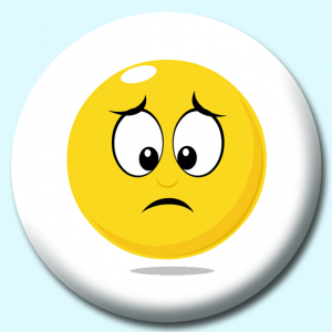 Personalised Badge: 75mm Smiley Face Unhappy Or Sad Expression Button Badge. Create your own custom badge - complete the form and we will create your personalised button badge for you.