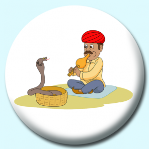 Personalised Badge: 58mm Snake Charmer Button Badge. Create your own custom badge - complete the form and we will create your personalised button badge for you.