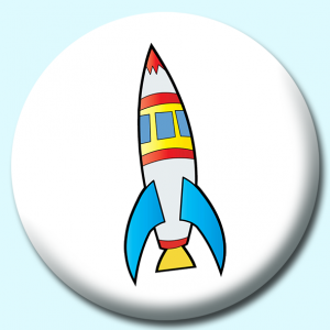 Personalised Badge: 38mm Space Ship Button Badge. Create your own custom badge - complete the form and we will create your personalised button badge for you.