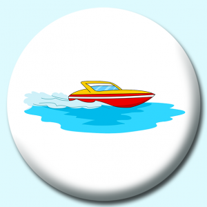 Personalised Badge: 75mm Speed Boat Button Badge. Create your own custom badge - complete the form and we will create your personalised button badge for you.