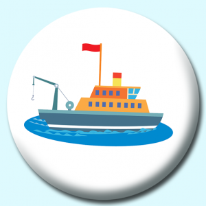 Personalised Badge: 58mm Sport Fishing Boat Button Badge. Create your own custom badge - complete the form and we will create your personalised button badge for you.
